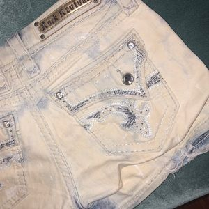 Rock Revival Bling Shorts white Wash